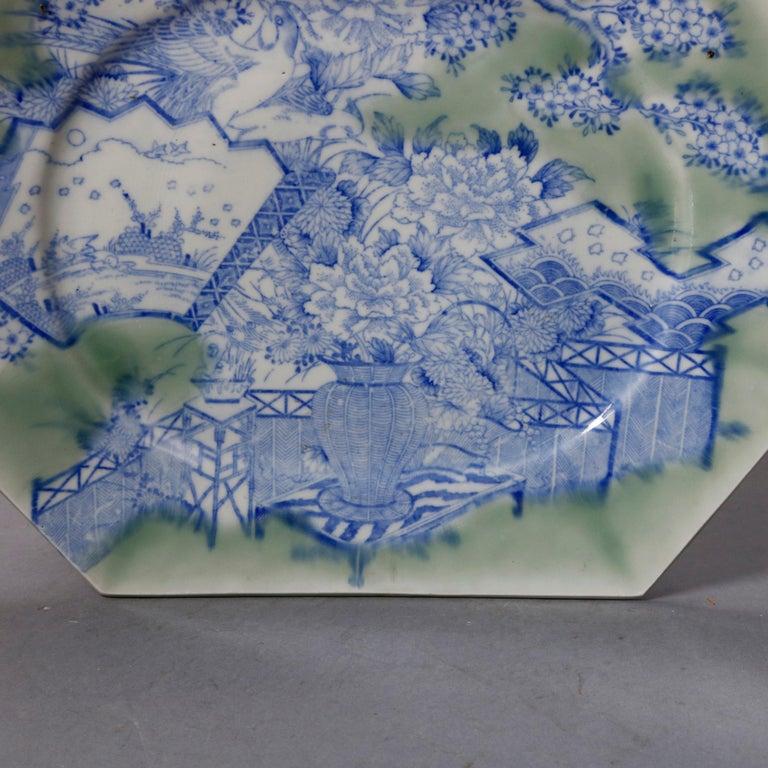 Glazed Antique Japanese Aesthetic Movement Scenic Celadon Porcelain Platter For Sale