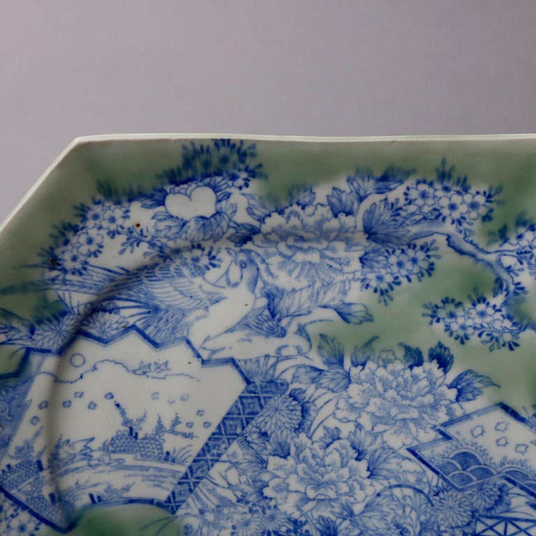 Antique Japanese Aesthetic Movement Scenic Celadon Porcelain Platter In Good Condition For Sale In Big Flats, NY