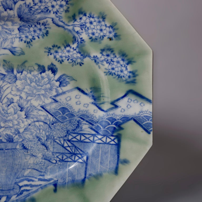 19th Century Antique Japanese Aesthetic Movement Scenic Celadon Porcelain Platter For Sale