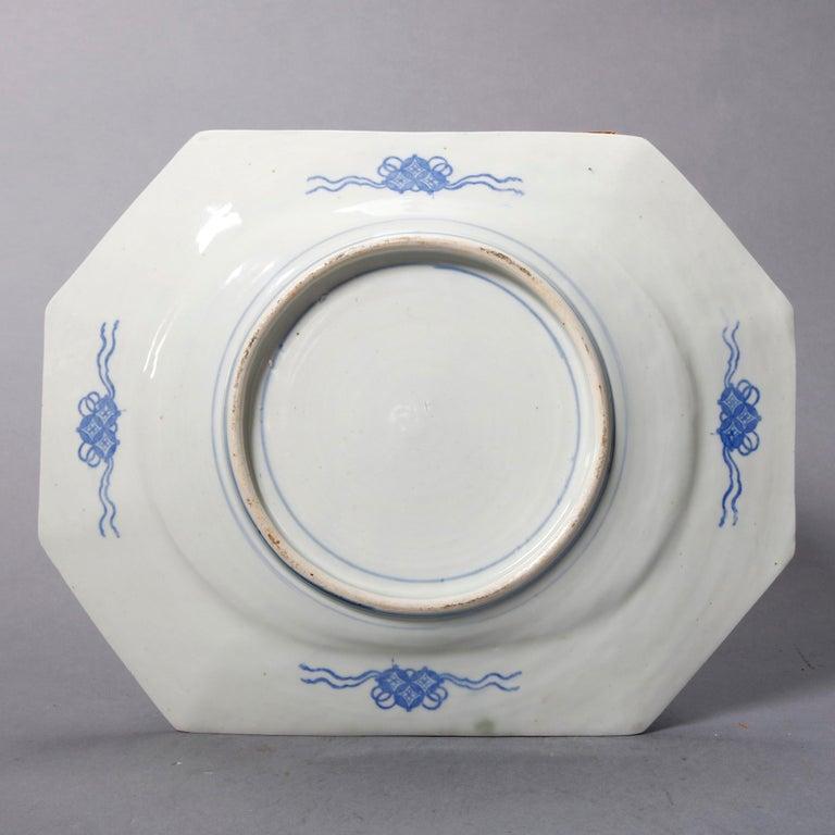 Ceramic Antique Japanese Aesthetic Movement Scenic Celadon Porcelain Platter For Sale