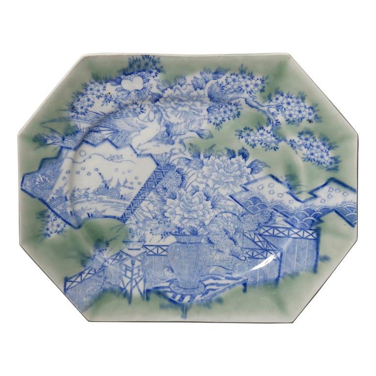 Antique Japanese Aesthetic Movement Scenic Celadon Porcelain Platter For Sale