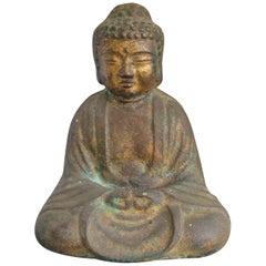 Antique Japanese Amida Buddha after Kamakura Cast Iron Statue with Gold Gilt