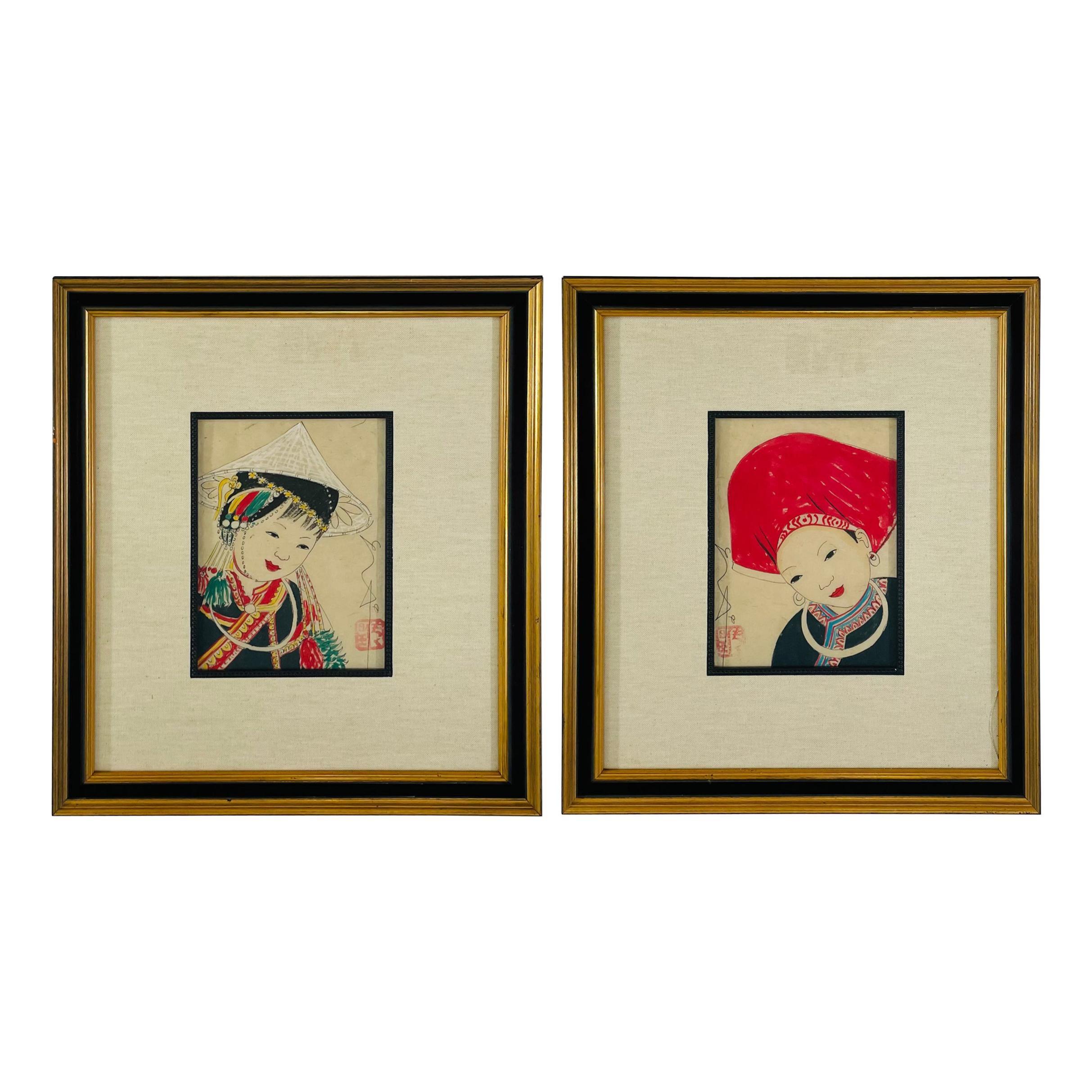 Antique Japanese Asian Women Portrait Etching Print Signed, a Pair