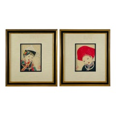 Antique Japanese Asian Women Portrait Etching Print Signed, a Pair