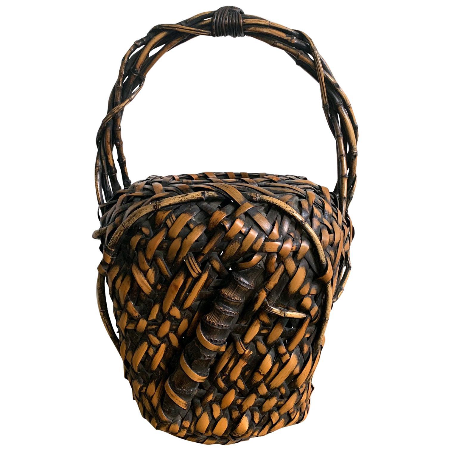 Antique Japanese Bamboo Ikebana Basket of Mingei Style