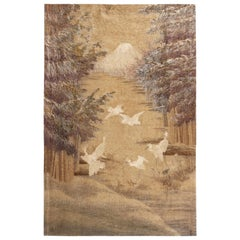 Antique Japanese Beige and Off-White Silk Tapestry with Crane Depictions
