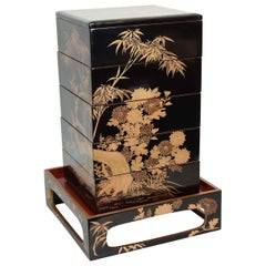 Antique Japanese Black Lacquer Jubako with Stand, Meiji Period, circa 1900