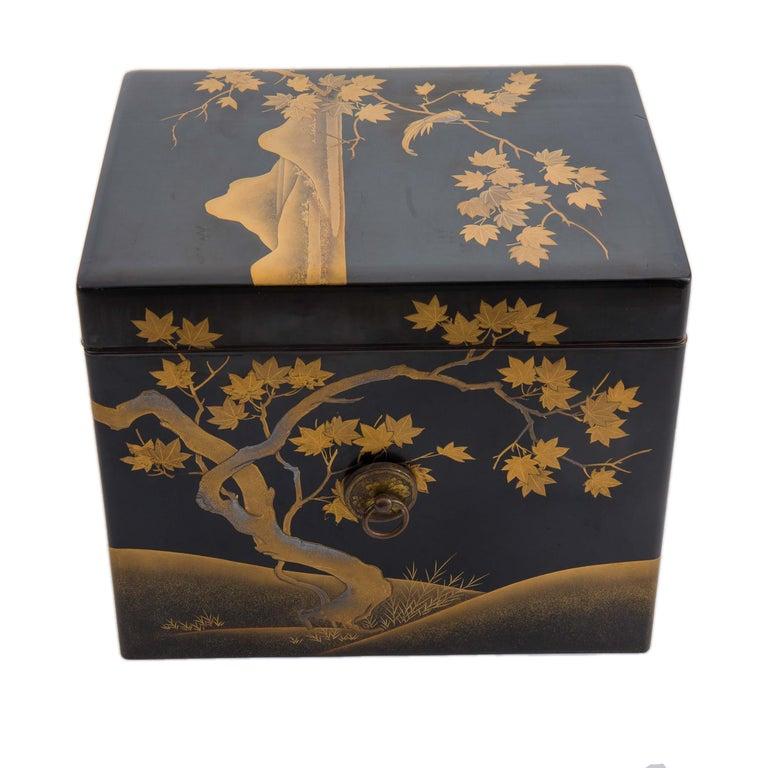 Gilt Antique Japanese Black Lacquer Noh Mask Box with Gold Maki e Design, Edo Period For Sale
