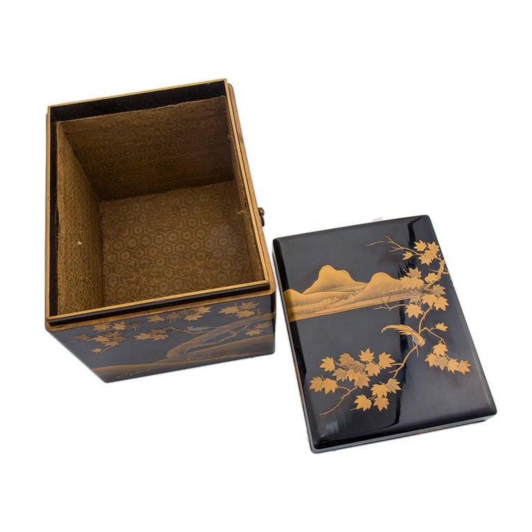 Antique Japanese Black Lacquer Noh Mask Box with Gold Maki e Design, Edo Period In Good Condition For Sale In Prahran, Victoria