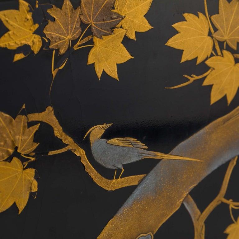 Bronze Antique Japanese Black Lacquer Noh Mask Box with Gold Maki e Design, Edo Period For Sale