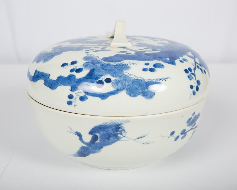 Antique Japanese Blue and White Porcelain Bowl circa 1760 For Sale 4