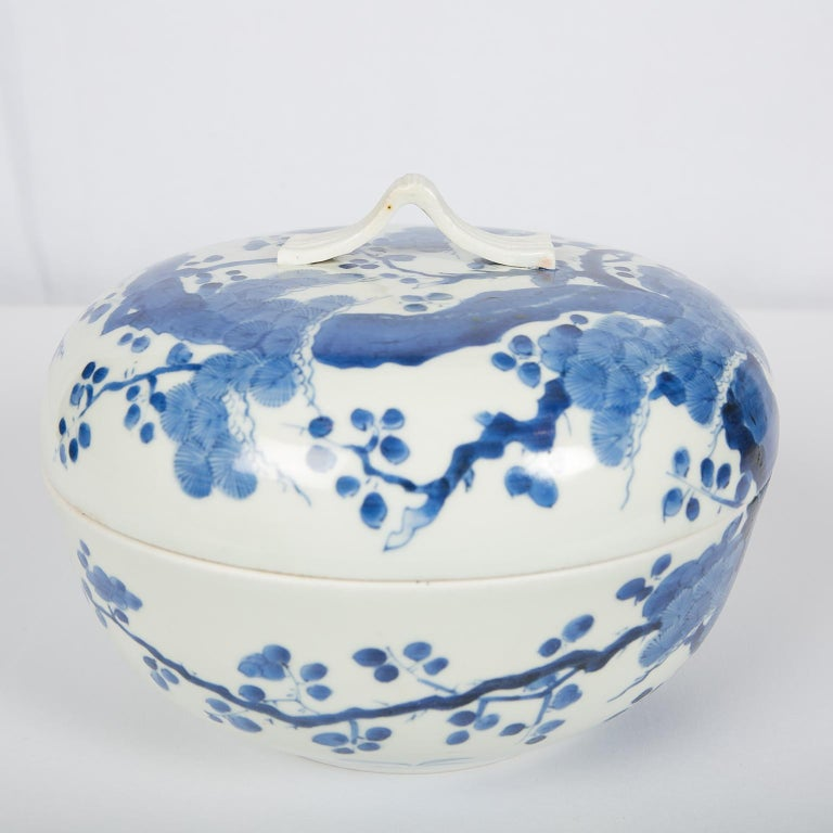 Antique Japanese Blue and White Porcelain Bowl circa 1760 For Sale 6