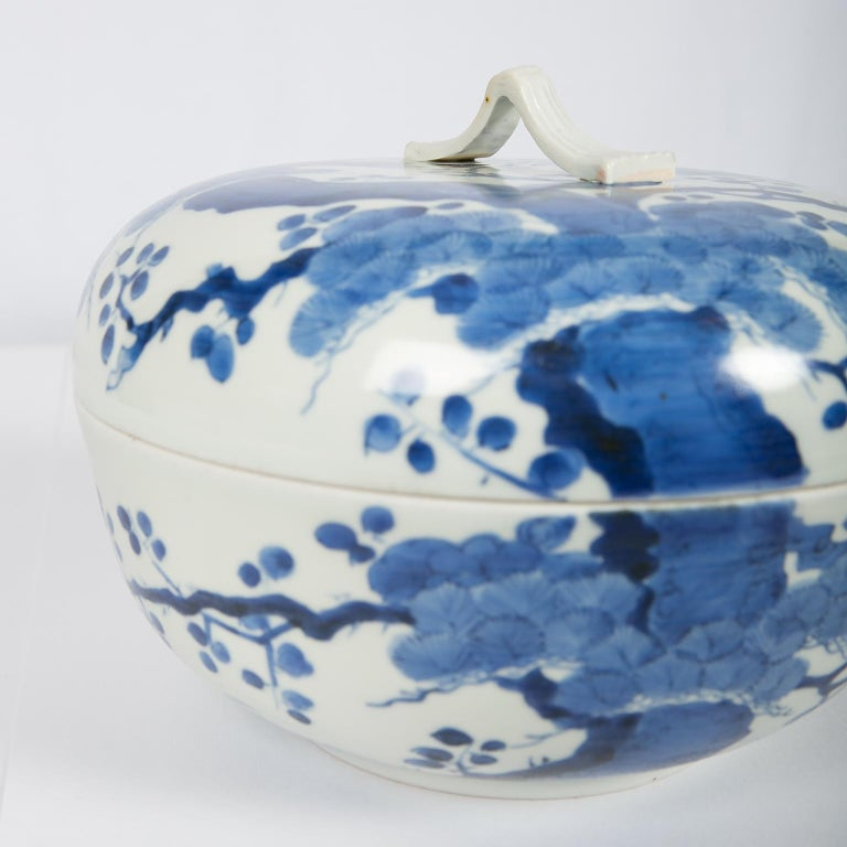 Antique Japanese Blue and White Porcelain Bowl circa 1760 For Sale 8