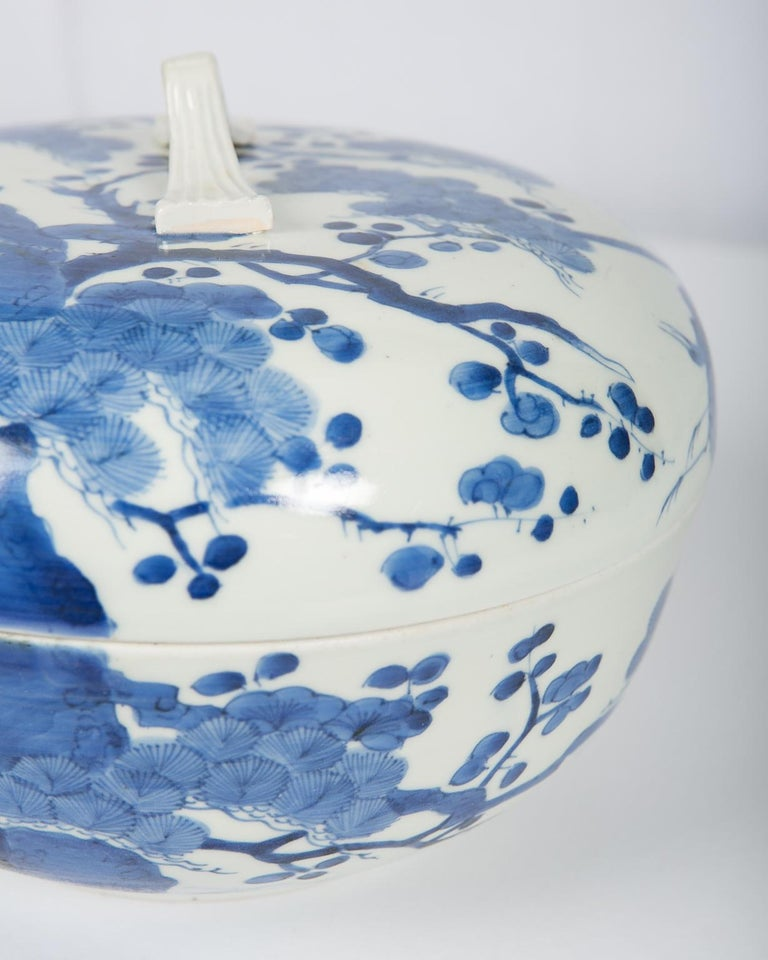 Antique Japanese Blue and White Porcelain Bowl circa 1760 For Sale 9