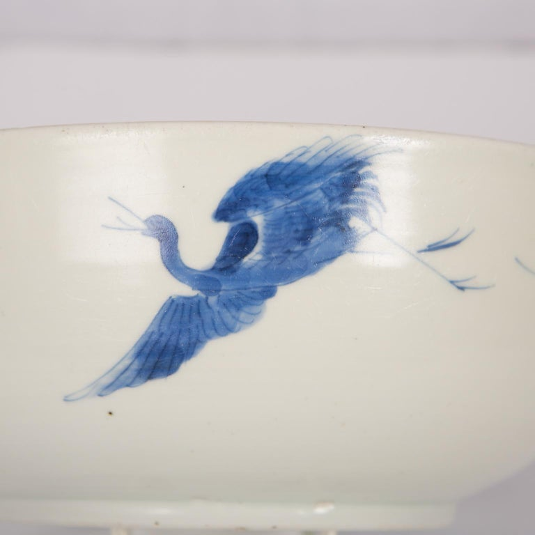 Japonisme Antique Japanese Blue and White Porcelain Bowl circa 1760 For Sale