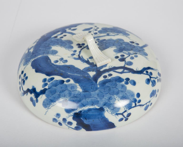 18th Century Antique Japanese Blue and White Porcelain Bowl circa 1760 For Sale