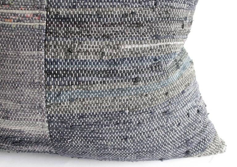 Linen Antique Japanese Boro Indigo Pillow For Sale