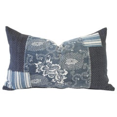 Antique Japanese Boro Patchwork Indigo Lumbar Pillow Blue and White