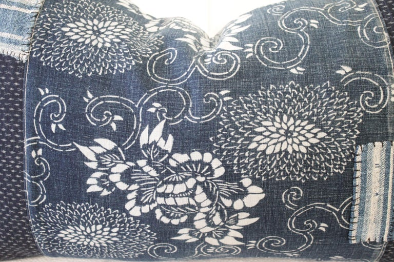 Antique Japanese Boro Patchwork Indigo Lumbar Pillow In New Condition In Brea, CA