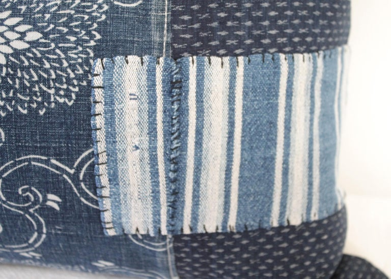 Contemporary Antique Japanese Boro Patchwork Indigo Lumbar Pillow