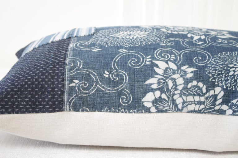 Cotton Antique Japanese Boro Patchwork Indigo Lumbar Pillow