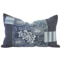 Antique Japanese Boro Patchwork Indigo Lumbar Pillow
