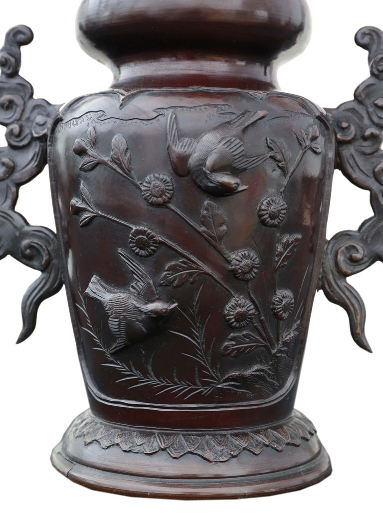 Antique Japanese Bronze Vase Early Meiji Period In Good Condition For Sale In Wisbech, Cambridgeshire
