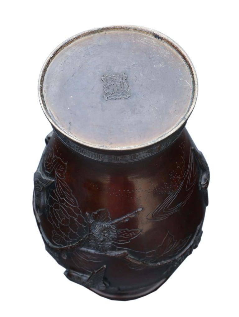 Antique Japanese Bronze Vase Meiji Period For Sale 2