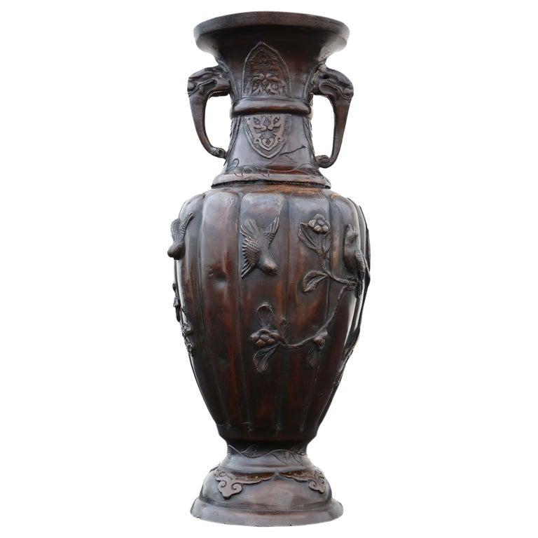 Antique Japanese Bronze Vase Meiji Period For Sale