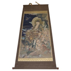 "Antique Japanese ""Buddha and His Disciples"" Hanging Scroll, Early 20th Century"