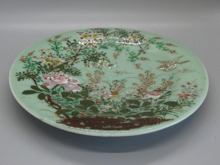 Antique Japanese Celadon Imari Nabeshima Enamel Porcelain Plate Meiji Era Signed For Sale 6