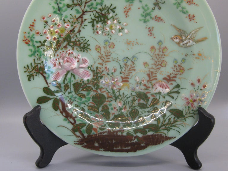 Antique Japanese Celadon Imari Nabeshima Enamel Porcelain Plate Meiji Era Signed In Excellent Condition For Sale In San Diego, CA