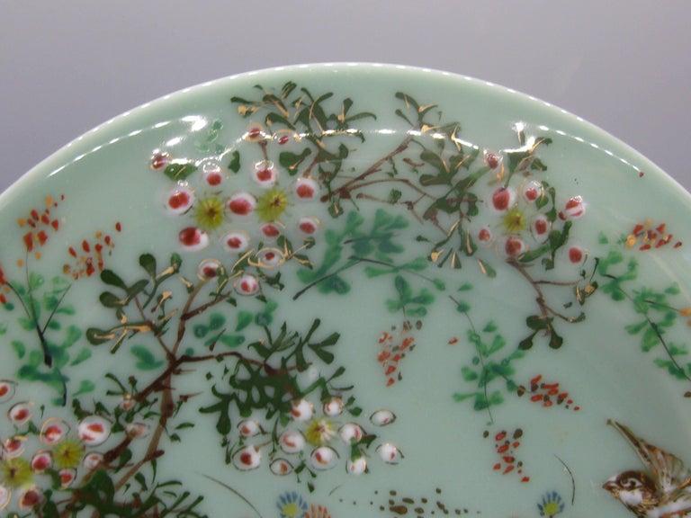 19th Century Antique Japanese Celadon Imari Nabeshima Enamel Porcelain Plate Meiji Era Signed For Sale