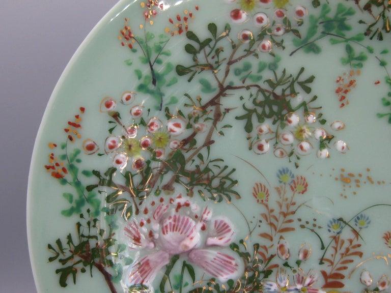 Antique Japanese Celadon Imari Nabeshima Enamel Porcelain Plate Meiji Era Signed For Sale 1