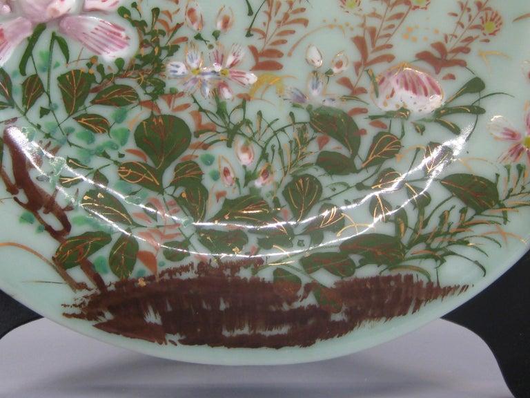 Antique Japanese Celadon Imari Nabeshima Enamel Porcelain Plate Meiji Era Signed For Sale 2