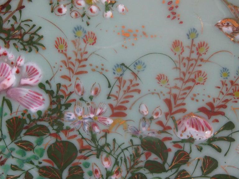 Antique Japanese Celadon Imari Nabeshima Enamel Porcelain Plate Meiji Era Signed For Sale 3