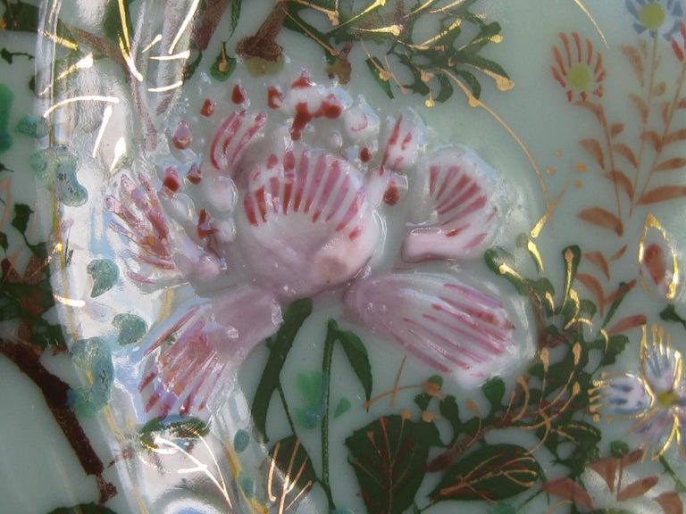Antique Japanese Celadon Imari Nabeshima Enamel Porcelain Plate Meiji Era Signed For Sale 4
