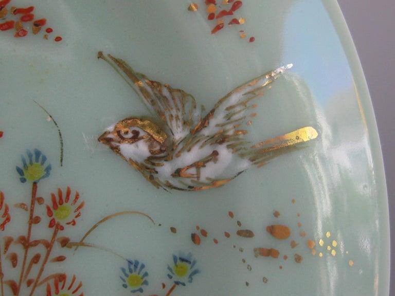 Antique Japanese Celadon Imari Nabeshima Enamel Porcelain Plate Meiji Era Signed For Sale 5
