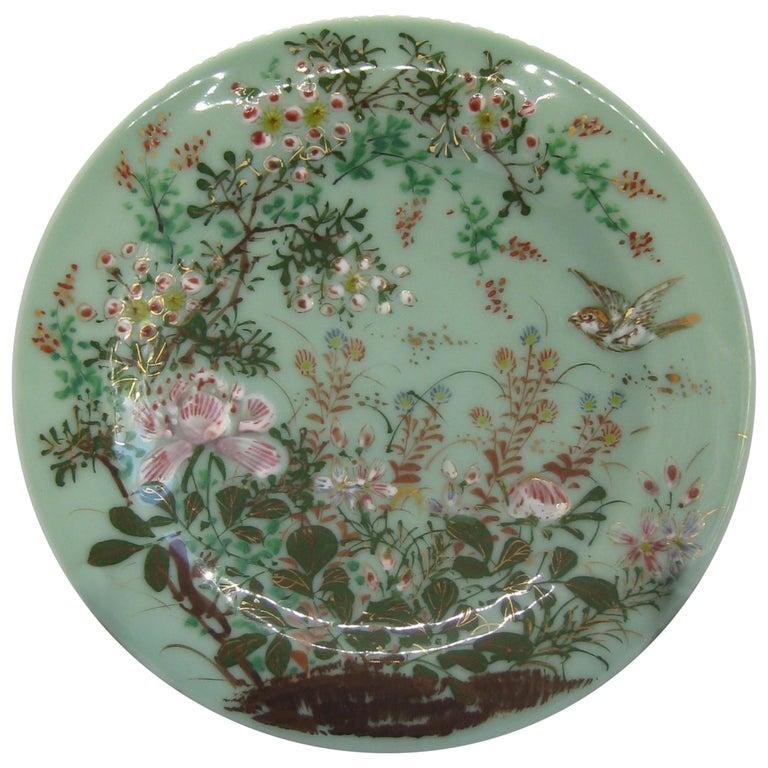 Antique Japanese Celadon Imari Nabeshima Enamel Porcelain Plate Meiji Era Signed For Sale