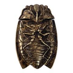 Antique Japanese Cicada Match Safe Vesta, circa 1890s
