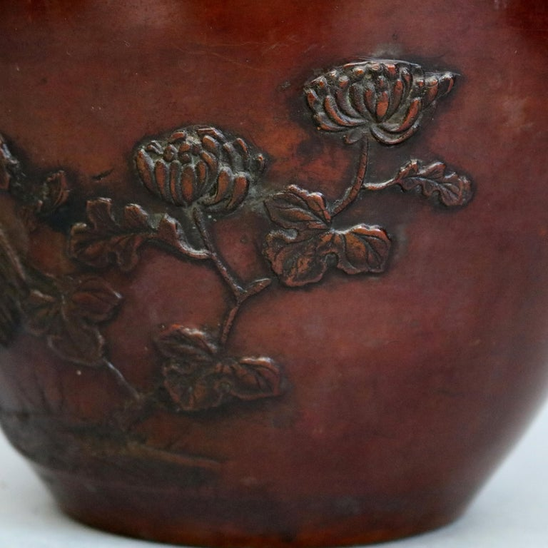 20th Century Antique Japanese Embossed Bronze Jardinière with Garden Scene, circa 1920 For Sale