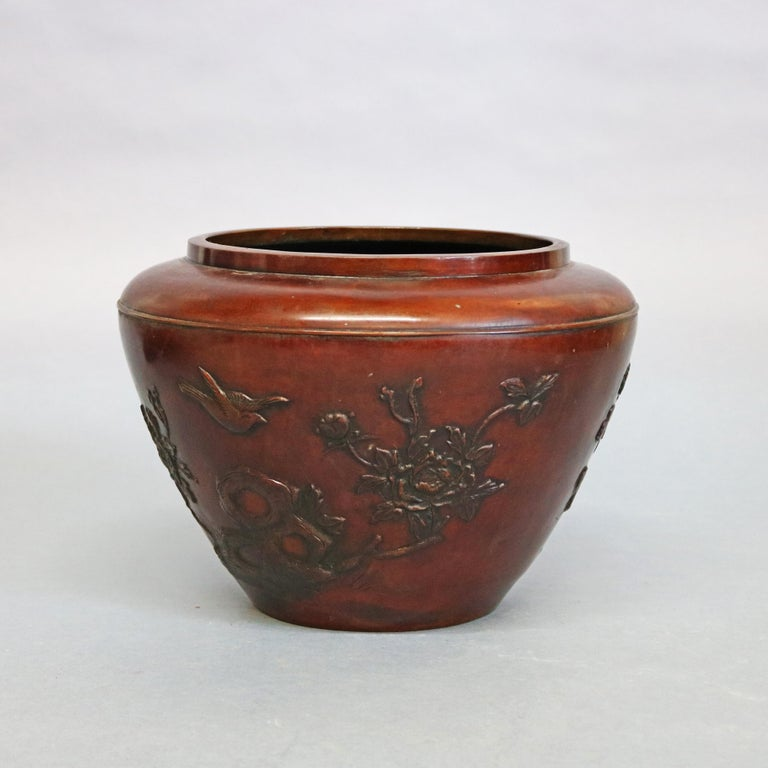 Metal Antique Japanese Embossed Bronze Jardinière with Garden Scene, circa 1920 For Sale
