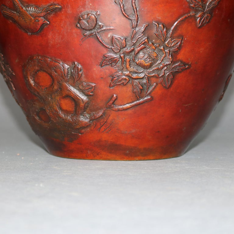Antique Japanese Embossed Bronze Jardinière with Garden Scene, circa 1920 For Sale 2