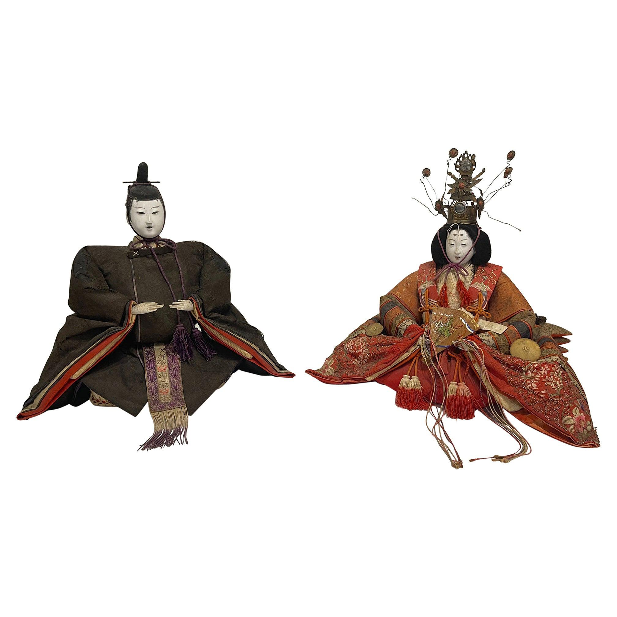 Antique Japanese Emperor and Empress Figures, Meji Period, Late 19th Century