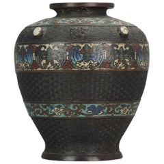 Antique Japanese Enamel Bronze Vase, Japan, Edo or Meiji