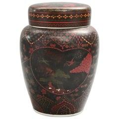 Antique Japanese Enameled Porcelain Ginger Jar, Circa 1920