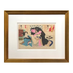 Antique Japanese Erotic Shunga Woodblock Print of a Couple in Gilt Frame