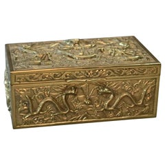 Antique Japanese Figural Cast Bronze Relief Oni and Serpent Document Box