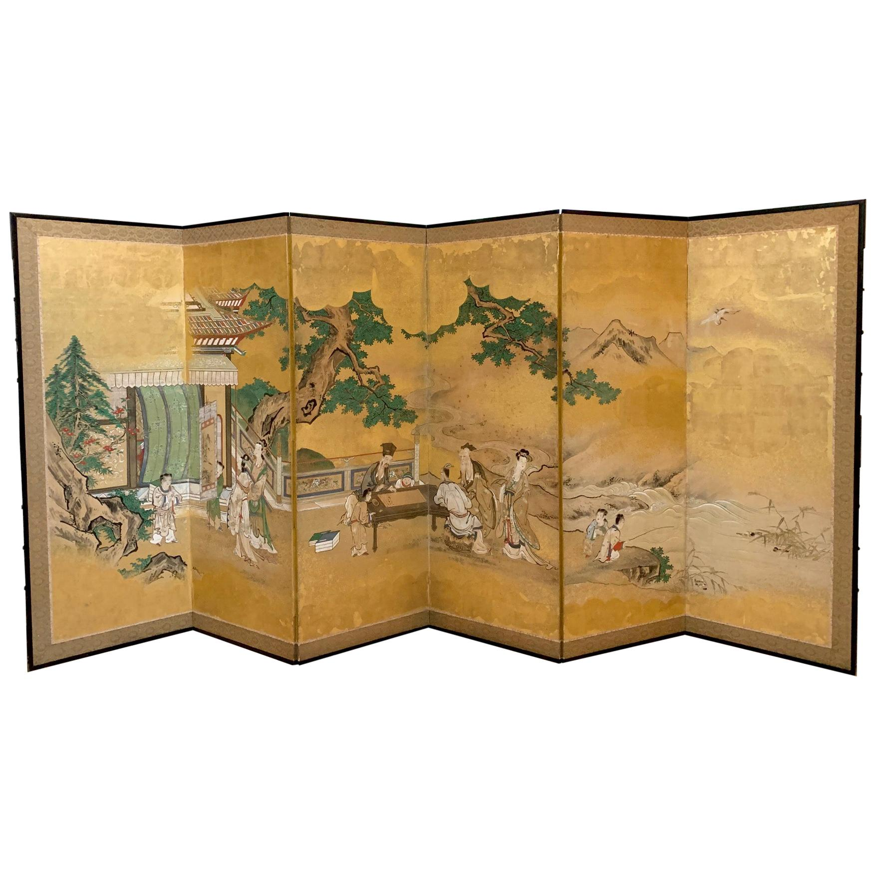 Antique Japanese Folding Floor Screen Kano School with Provenance