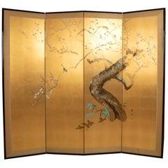 Antique Japanese Four-Panel Screen 'Byobu', Nihonga School, Meiji Period